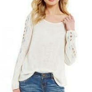 NWT Miss Me Embroidered Cut Out Sweater